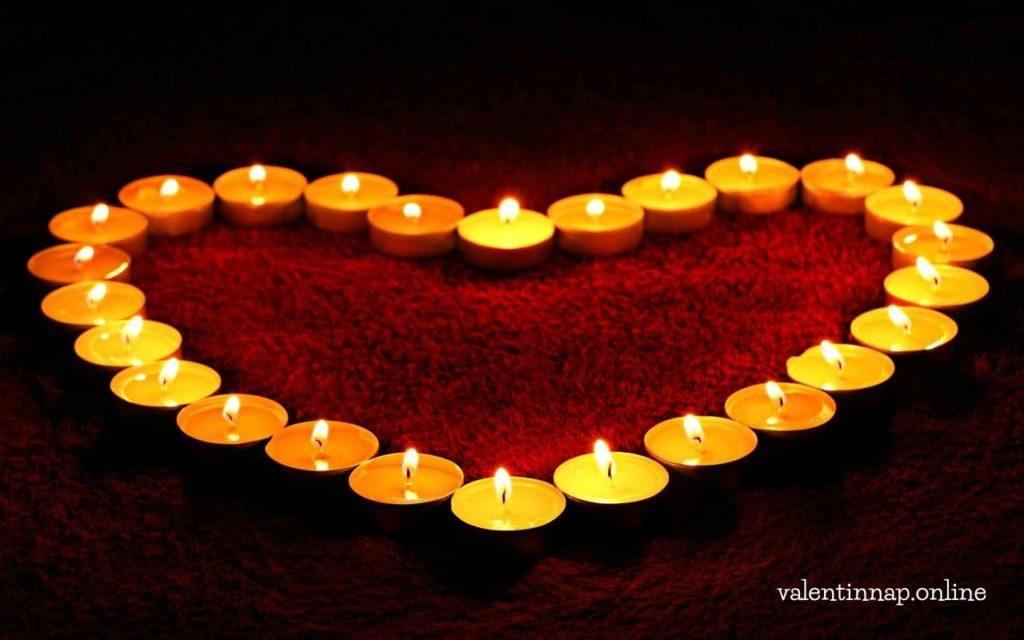 Valentin napi dekoráció, mécsesek