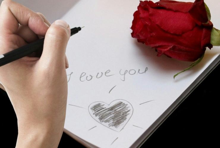 Valentin-napi kártya 'szeretlek' felirattal